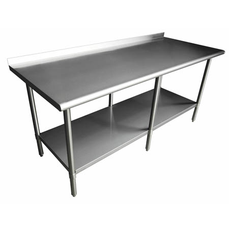 "Sauber Stainless Steel Work Table with 2"" Backsplash 96""W x 30""D x 36""H"