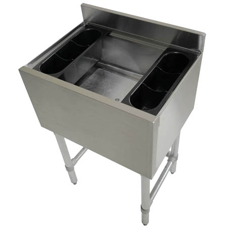 "Sauber Stainless Steel Cocktail Station w/ 12"" Deep Ice Bin"