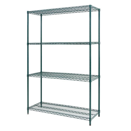 "Sureshelf Green Epoxy-Coated Wire Shelving Kit 24"" x 60"""