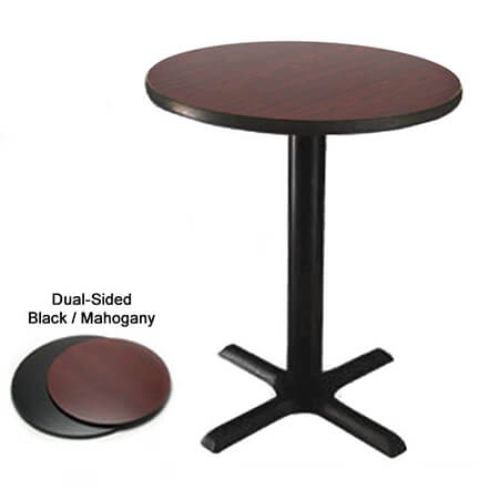 "48"" Round Black/Mahogany Dining-Height Dual-Sided Table Kit 29-1/4""H"