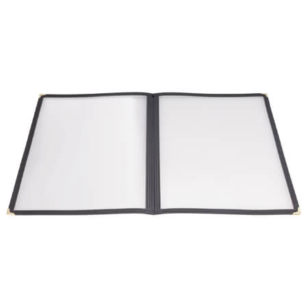 "Winco 4-Panel Clear Plastic Menu Cover with Black Binding 9-1/2"" x 12-1/4"""