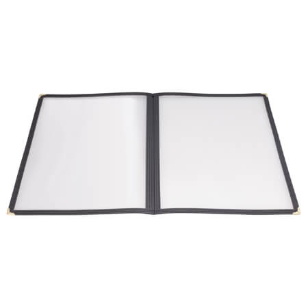 "Winco 4-Panel Clear Plastic Menu Cover with Black Binding 9-1/2"" x 14-3/4"""