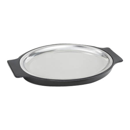 "Winco Stainless Steel Oval Steak Platter with Plastic Coaster 13-3/4"" x 8-1/4"""