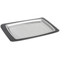 Winco Stainless Steel Rectangular Steak Platter with Plastic Coaster 11\x22 x 7-1/3\x22