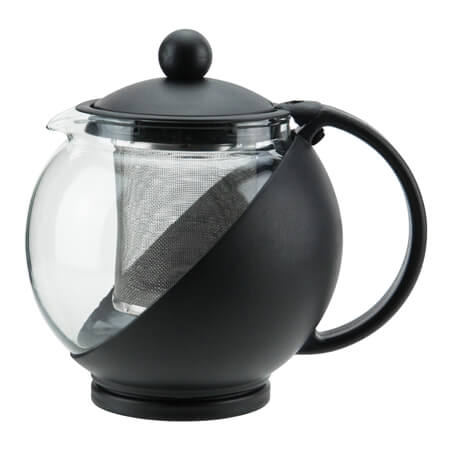 Winco 25 oz. Black Plastic Teapot with Glass Liner and  Removable Stainless Steel Infuser Basket
