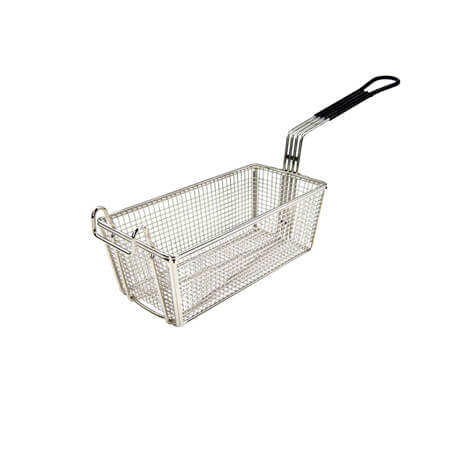 "Winco Front Hook Fry Basket with Black Insulated Handle 5-1/2""W x 11""D x 4-1/4""H"