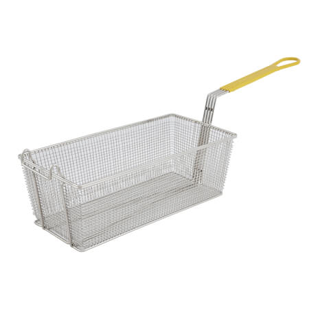 "Winco Front Hook Fry Basket with Yellow Insulated Handle 8""W x 17""D x 6""H"