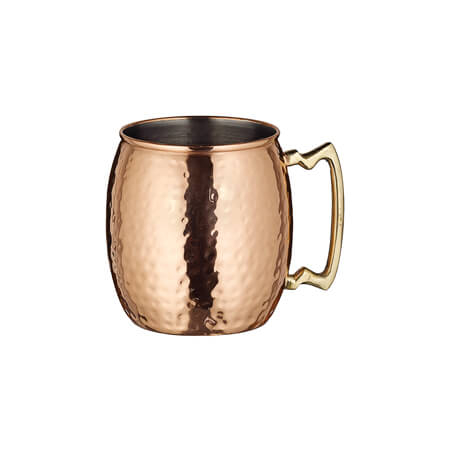 Winco 20 oz. Hammered Copper-Plated Moscow Mule Mug with Brass Handle