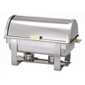 Bradford Hall 8-Quart Full Size Stainless Steel Chafer with Roll Top Lid & Gold Plated Accents
