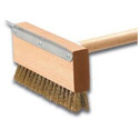 10-1/2\x22 Pizza Oven Brush with Metal Scraper & Brass Bristles