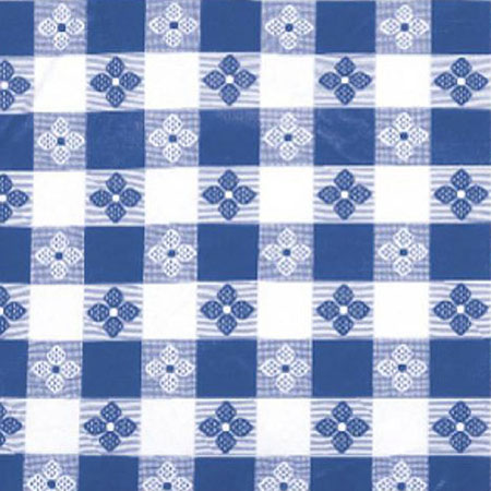 "Blue Check Pattern Vinyl Tablecloth 70"" x 52"""