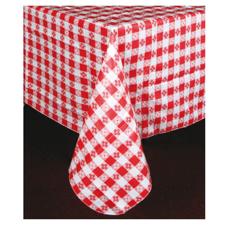 "Red Check Pattern Vinyl Tablecloth 70"" x 52"""