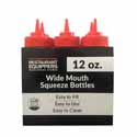 12 oz. Red Wide Mouth Squeeze Bottle 6-Pack