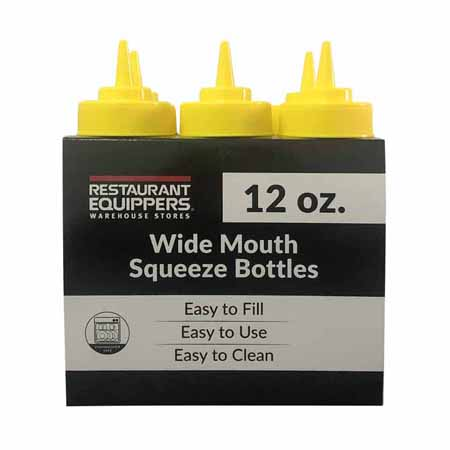 12 oz. Yellow Wide Mouth Squeeze Bottle 6-Pack