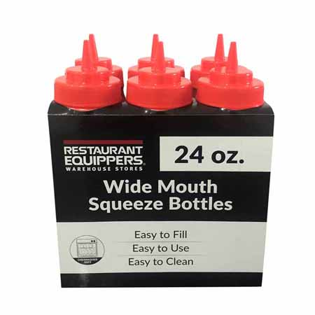24 oz. Red Wide Mouth Squeeze Bottle 6-Pack