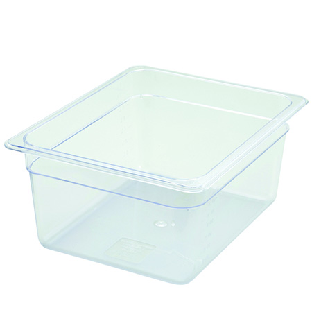 "Winco 1/2-Size Clear Food Pan 12-3/4""L X 10-1/4""W X 6""H"
