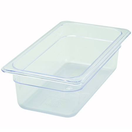 "Winco 1/3-Size Clear Food Pan 12-4/5""L X 7""W X 4""H"