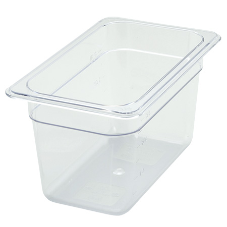 "Winco 1/4-Size Clear Food Pan 10-1/4""L X 6-1/4""W X 6""H df"