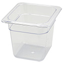 1/6-Size Clear Food Pan 6-3/4\x22L X 6-1/4\x22W X 6\x22H