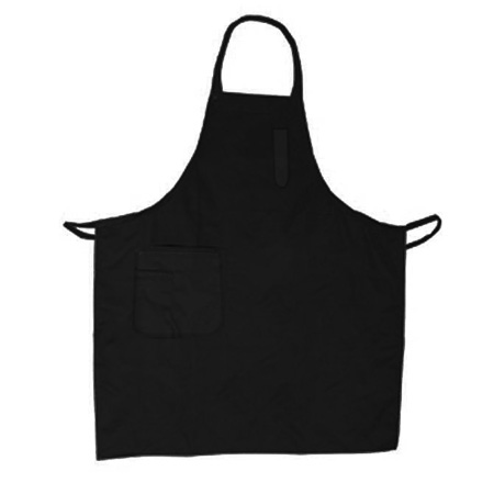 Winco 2-Pocket Full Length Black Bib Apron