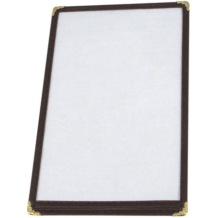 "Winco 2-Panel Clear Vinyl Menu Cover with Black Binding 9-5/16"" x 12-1/8"""