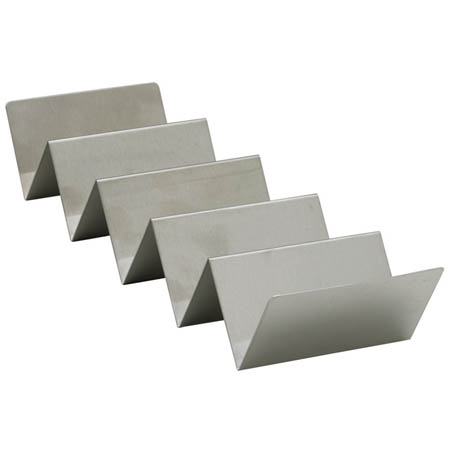 "Winco 5-Taco Stainless Steel Holder 4""W"