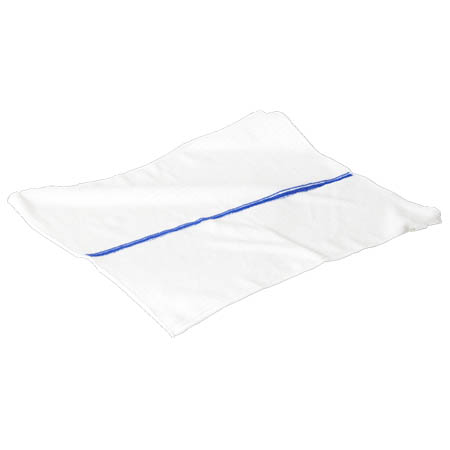 "15"" x 18"" Blue and White Stripe Polyester Cleaning Cloth 12-Pack"