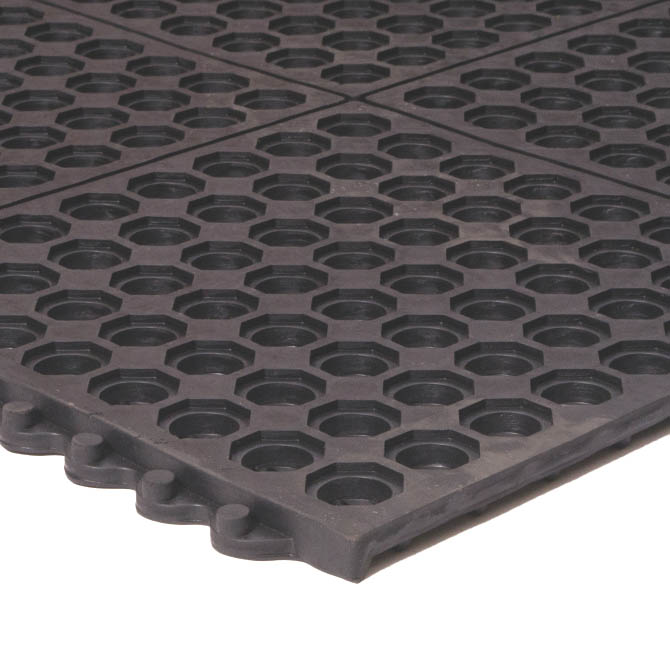 Apache Mills 3 X 3 Black Interlocking Anti Fatigue