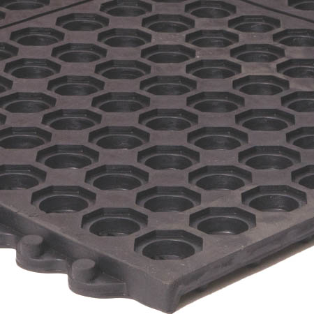 Apache Mills 3' x 3' Black Interlocking Anti-Fatigue Kitchen Floor Mat