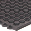 Apache Mills 3\' x 3\' Black Interlocking Anti-Fatigue Kitchen Floor Mat
