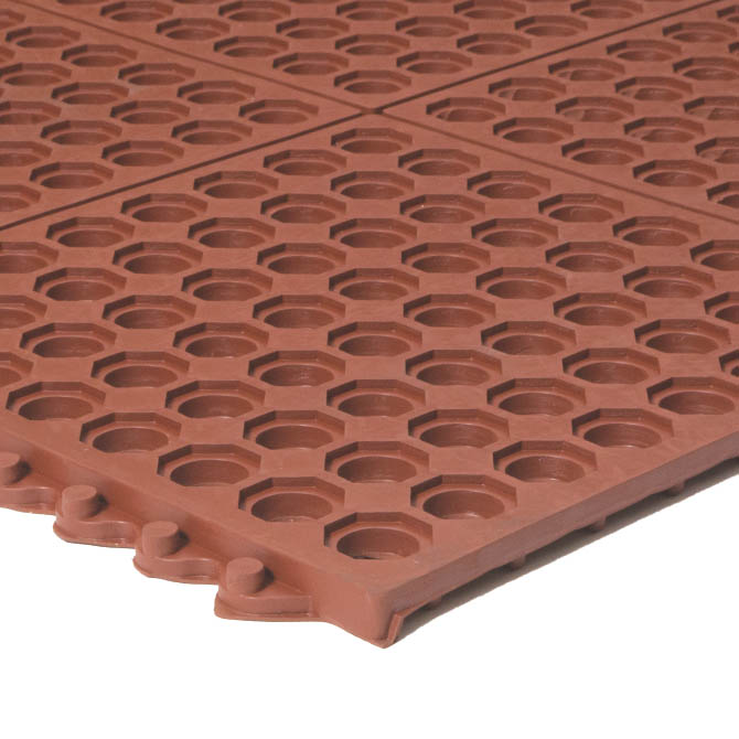 Apache Mills 3\' x 3\' Red Interlocking Anti-Fatigue Kitchen Floor Mat