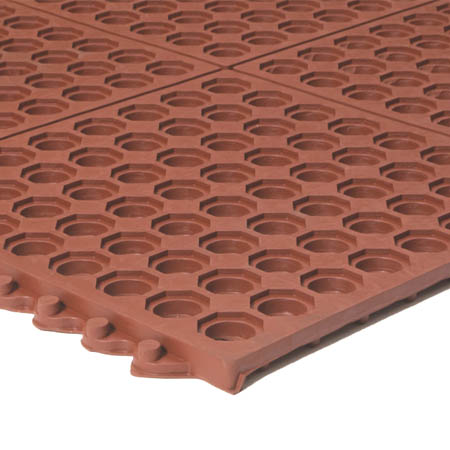 Apache Mills 3' x 3' Grease Resistant Red Interlocking Anti-Fatigue Kitchen Floor Mat