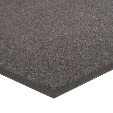 Apache Mills 4' x 6' Charcoal Gray Carpeted Floor Mat for Double Door Entrance
