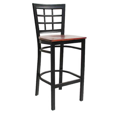 Black Metal Window Back Bar Stool with Walnut Finish Wood Seat