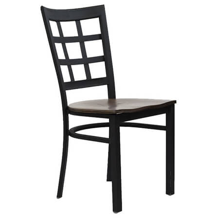 Black Metal Window Back Chair with Walnut Finish Wood Seat