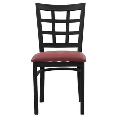 Black Metal Window Back Chair with Wine Vinyl Seat