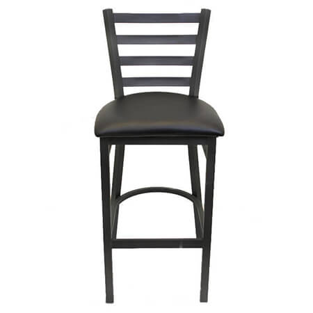 Black Metal Ladder Back Bar Stool with Black Vinyl Seat