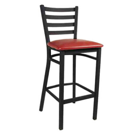 Black Metal Ladder Back Bar Stool with Wine Vinyl Seat