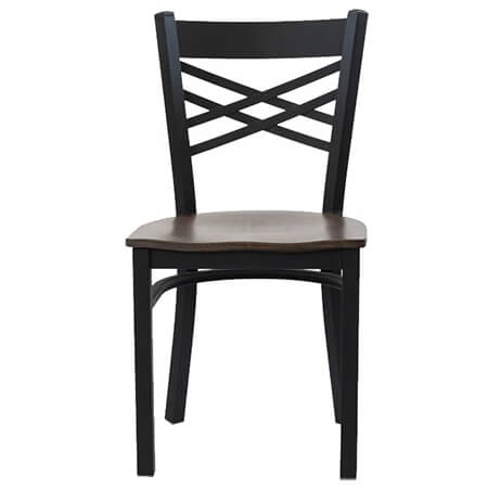 Black Metal X-Back Chair with Wood Seat