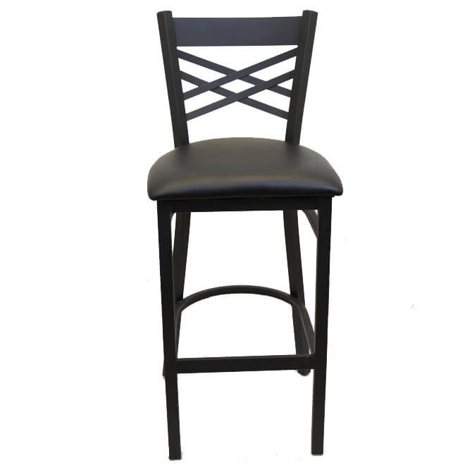 size 40 a00ce dfc91 Black Metal X-Back Bar Stool with Black Vinyl Seat