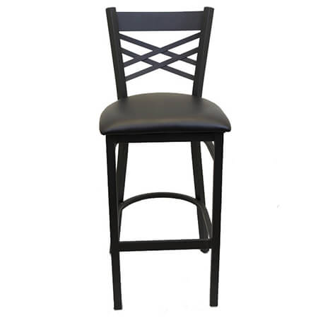Black Metal X-Back Bar Stool with Black Vinyl Seat