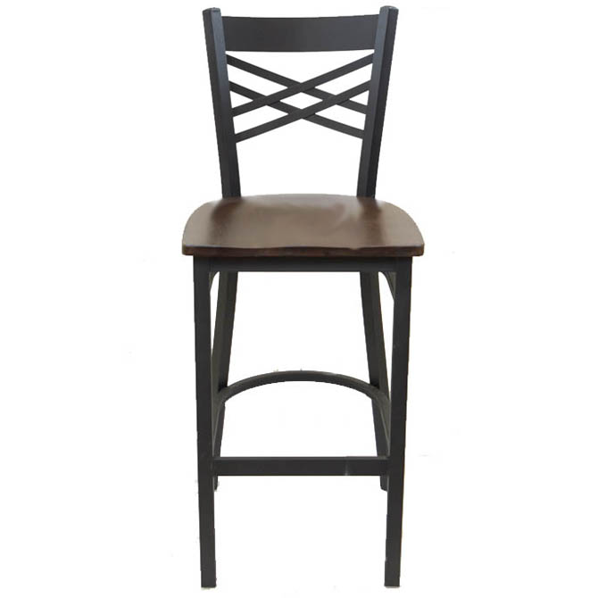 Super Black Metal X Back Bar Stool With Walnut Finish Wood Seat Pdpeps Interior Chair Design Pdpepsorg