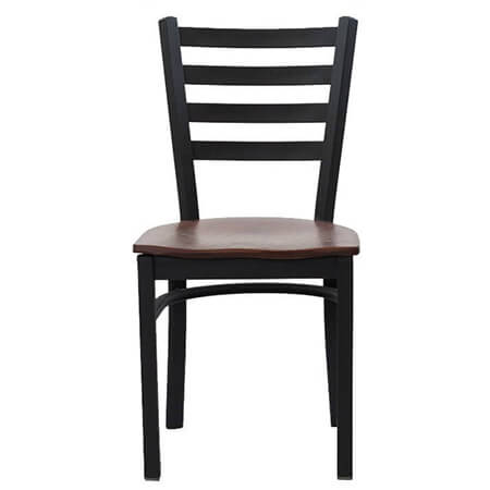 Black Metal Ladder Back Chair with Walnut Finish Wood Seat