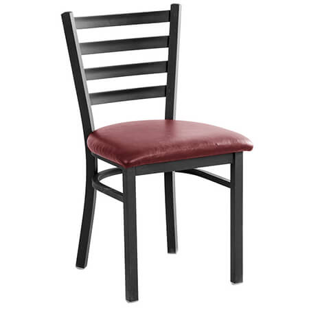 Black Metal Ladder Back Chair with Wine Vinyl Seat