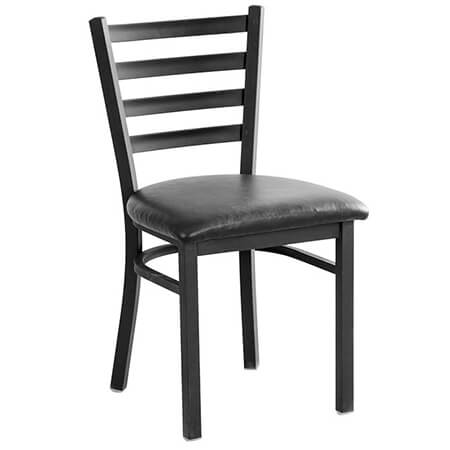 Black Metal Ladder Back Chair with Black Vinyl Seat