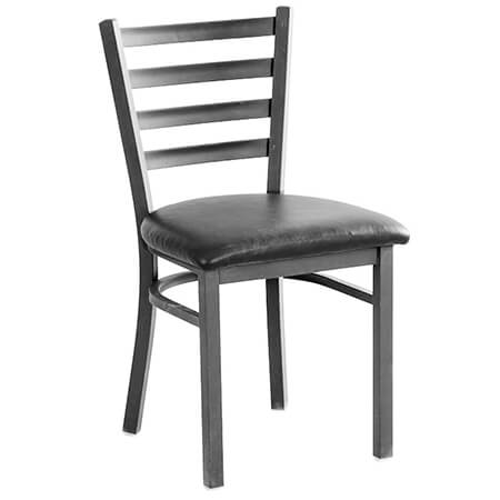 Modesto Graphite Gray Metal Ladder Back Chair with Black Vinyl Seat