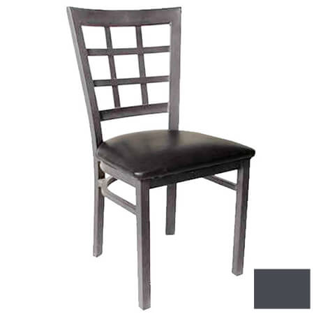 Modesto Graphite Gray Metal Window Back Chair with Black Vinyl Seat