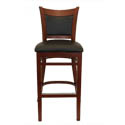 Mahogany Finish Wood Cushion Back Bar Stool with Black Vinyl Seat