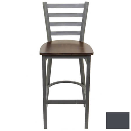 Modesto Graphite Gray Metal Ladder Back Bar Stool with Walnut Finish Wood Seat