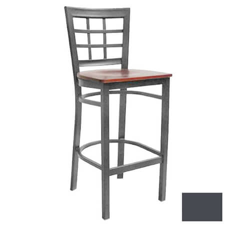 Modesto Graphite Gray Metal Window Back Bar Stool with Walnut Finish Wood Seat